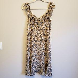 Loft Nude Neutral Floral Flutter Sleeve Dress
